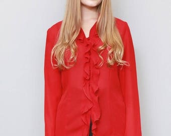 Vintage 1980's Elements Deep Red Ruffled Blouse