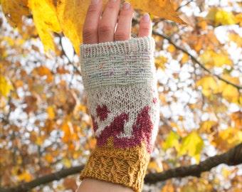 Fingerless gloves Knitting Pattern - Burn the capitol - Instant Download - Stranded gloves - knitted gloves - fingerless mitts gift for her
