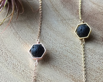 90. Hexagon + Single LAVA diffuser necklace / minimalist necklace