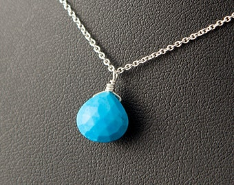 Real Turquoise Sterling Silver Necklace, Genuine Turquoise Necklace, Faceted Turquoise Necklace, Turquoise Jewelry, Turquoise Pendant
