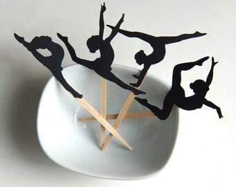 Gymnast DIY Cupcake Topper Kit, Gymnast Cupcake Toppers, Gymnastics Cupcake Party Picks or Skewers