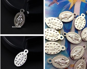 50 pcs Tiny  8mm*14mm two sided Virgin Miraculous Mary Charms Medals Catholic Religious Gift medal for Bracelet supplies