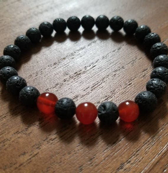 Men's Reiki Attuned Lava Stone and Carnelian Fertility Bracelet