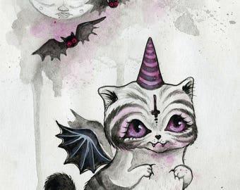 The Vampurrr Bat - white cat, cute satanic kitty, postcard, small art, vampire cat, halloween, cute spooky, gift ideas, phresha