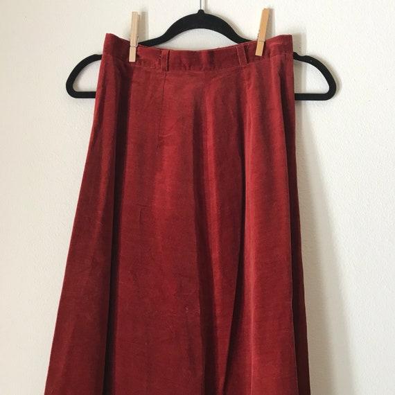 Sienna Velvet A-Line Midi | 70s vintage rust color high waist long extra small XS S retro folk hippie SKIRT belt loops