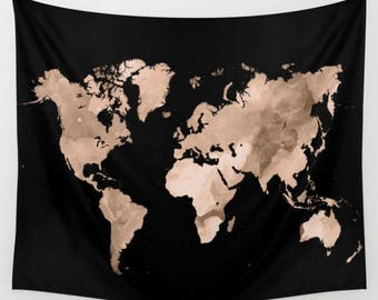 Sepia world map etsy world map wall tapestry world map wall hanging design 97 black sepia light brown gumiabroncs Image collections