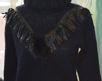 Hand Knit Wool Sweater, Womens Black Sweater, Size Small Sweater, Knitted Sweater, Boho Tutleneck
