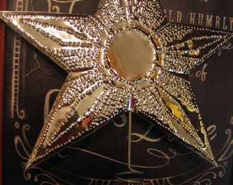 IN STOCK!Christmas Star Tree Topper,Shiny SilverTinARTIST Original, sturdy coil,Mirror-Shiny CircleCenterwith Diamond Star Points Copyright.
