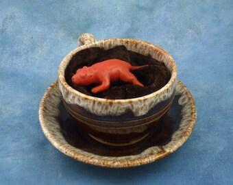 Teacup Baby Rat, Original Polymer Clay Rodent Sculpture