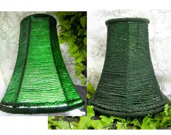 small beaded lampshade -green Lamp Shade, Kitsch lampshade - tea light lamp shade -candle lampshade -Boudoir lamp shade, - # 69