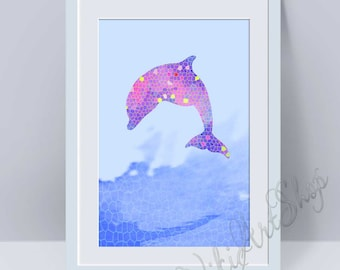 Dolphin Print, Poster Art - Dolphin watercolor art, Home Decor, Nursery Art Decor, Dolphin Print Art, Animal Art Dolphin