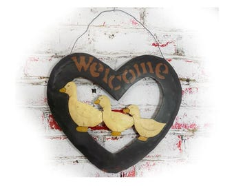 welcome sign - country decor - Country farmhouse home decor -  goose wall decor - welcome goose sign - rustic welcome sign # 25