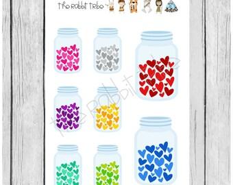 Mini Sticker Sheet - jar of hearts - planner stickers