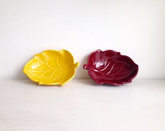 French vintage ceramic (set of 2) yellow and Burgundy in the shape of leaves.