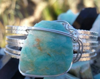 SOLD-Amazonite sterling silver cuff bracelet.