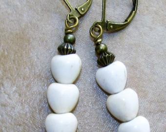 Bone WHITE Triple Howlite HEART Bronze Tone Earrings HANDCRAFTED