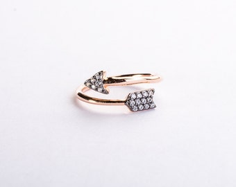 Follow Your Arrow Ring - sterling silver, rose gold vermeil and cubic zirconia