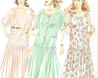 New Look 6679  Misses Dropped Waist Dress Sewing Pattern  Size 8-18, UNCUT