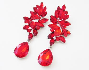 Bright Red Earrings, Large Red Earrings, Red Earrings for Wedding, Red Wedding Jewellery, Red Bridal Jewelry, Big Red Crystal Earrings