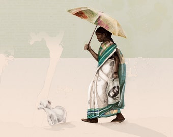 Travel Series: Kerala Backwaters Indian Woman with Beautiful Sari and Goat on the Canals of Kerala, India — Art Illustration Giclee Print