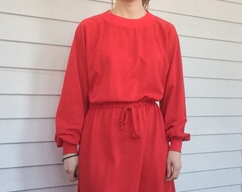 Red Long Sleeve Dress 70s Vintage Casual S M