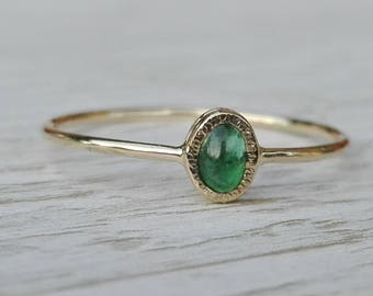 Emerald ring, 14k gold emerald ring, Natural Emerald, Green Gemstone ring, Dainty ring, an exeptional Gift for Her, minimalist jewelry