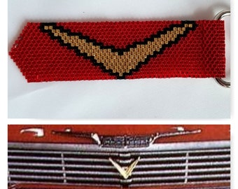 Handmade Red and Gold 1958 Plymouth Fury Grill Decoration Zipper Pull Clip On; Stephen King's Christine Zipper Pull Clip On