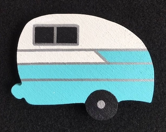Vintage Travel Trailer Magnet - Classic Shasta in Blue