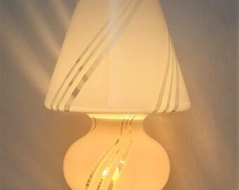 Vintage Murano Vistosi Midcentury Mushroom Table Lamp Venezian Art Glass  And Brass Lamp, Made In