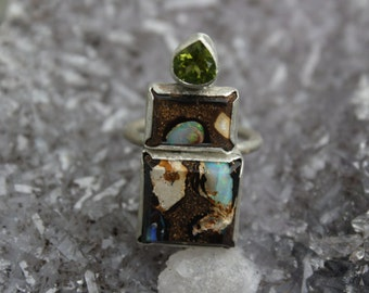 Size 7 Australian Boulder Opal And Peridot Sterling Silver Ring