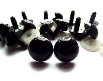 x 50 round 12 mm safety eyes plastic black eye Doll/Toy/blanket + 50 caps