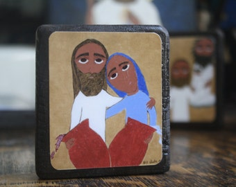 2.5 ish X 3.5 ish inch Wedding at Cana byzantine/folk icon on wood