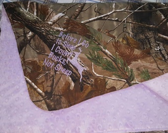 Ready To Ship Realtree and Lavender baby blanket, camo infant blanket, Realtree and Light Purple blanket, Purple camo baby blanket