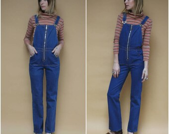 Vintage 70s Denim Overalls Zip Up Jean Romper Onesie Bib Jeans Groovy One Piece Dark Wash Straight Leg Jeans