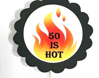 50th Cupcake Toppers - 50 is HOT, Set of 12 READY to SHIP
