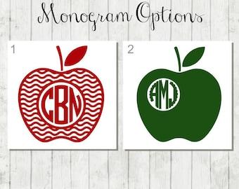 Teacher Monogram Decal, Apple Monogram Decal, Teacher Decal, Vinyl Decal