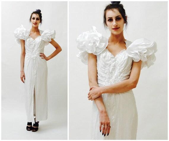 Vintage 80er weiße Pailletten Abendkleid Größe Medium / / 80er