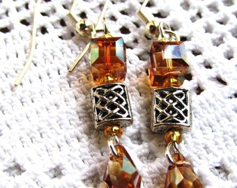 A is for Aruba Earrings of Crystal Cubes, Briolettes and Pewter Beads