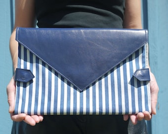 Blue & white striped denim and royal blue leather diaper clutch, folds into Union Jack changing mat, diaper purse, nappy bag, handmade in LA