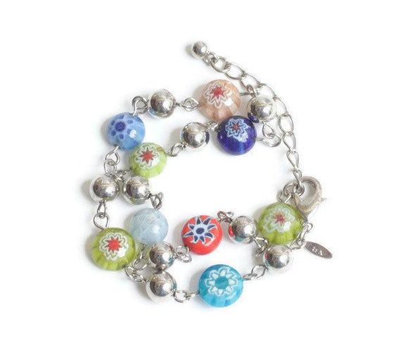 Avon Ankle Bracelet Multi Color Millefiori Glass Beads Vintage