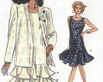 80s Womens Below Hip Jacket and Flounced Dress Sleeveless Vogue Sewing Pattern 7202 Size 8 10 12 Bust 31 1/2 to 34 FF Very Easy Very Vogue
