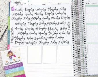 Days of the Week Planner Stickers - Script Planner Stickers - Lettering Planner Stickers - Planner Stickers - Fits Most Planners - 276