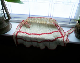 Vintage Half Apron Hand Crocheted Red and White 1950s