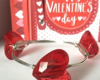Red heart bangle bracelet