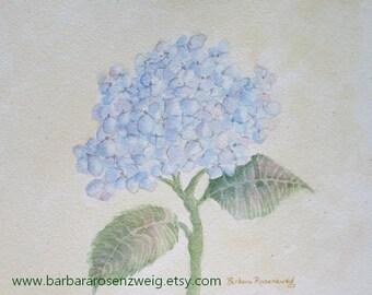 Hydrangea Print, Blue Hydrangea Painting, Hydrangea Wall Art, Blue Hydrangea Watercolor, Flower Wall Art, Shabby Chic Art, Rosenzweig Art