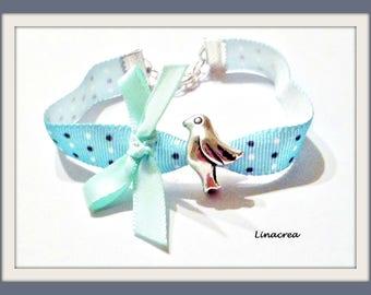 Gift birth Dove pale blue satin bow Ribbon Bracelet