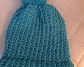 Kids Beanie with Pom Pom Turquoise