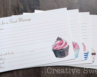 """Bridal Shower """"Recipe for a Sweet Marriage"""" Cupcake Cards {Set of 20}"""