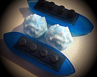 2 SETS (4 pcs) Titanic Ship & Glacier Soaps - Wood Fig and Berry Scent - BLUE color - Vegan guest bath decorative boat barge