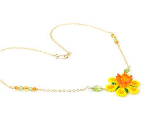 Beaded Daffodil Necklace with Peridot and Swarovski Crystals in 14K Gold Fill, Natural Stone Jewelry, Bright Yellow Flower Necklace, 18 Inch